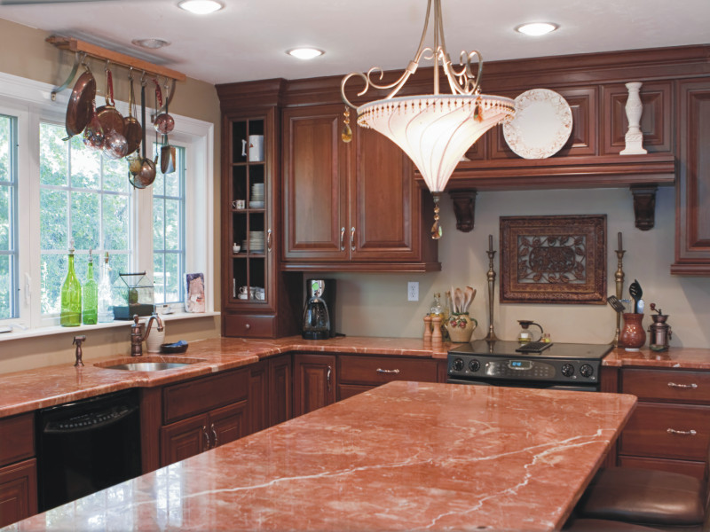 Creative juice choosing the countertop that is right for you for Pink and brown kitchen ideas
