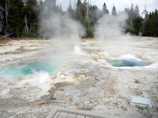 Spasmodic Geyser on Geyser Hill in Yellowstone National Park in Wyoming