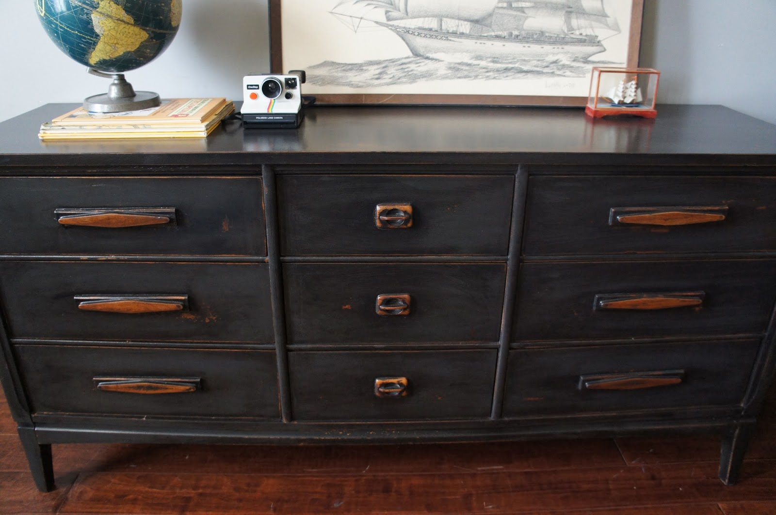 1. Mid Century Graphite Distressed Dresser