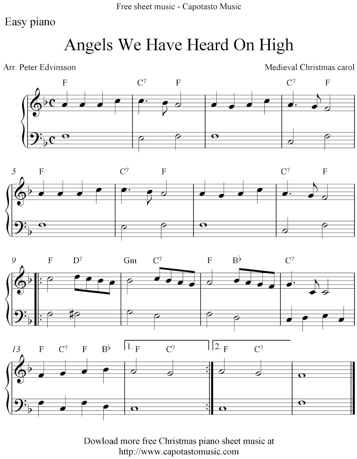 ... Heard On High. Free printable Christmas sheet music for easy piano