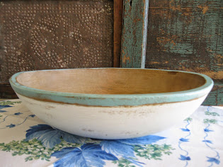 big old bowl in robins egg blue and white milk paint