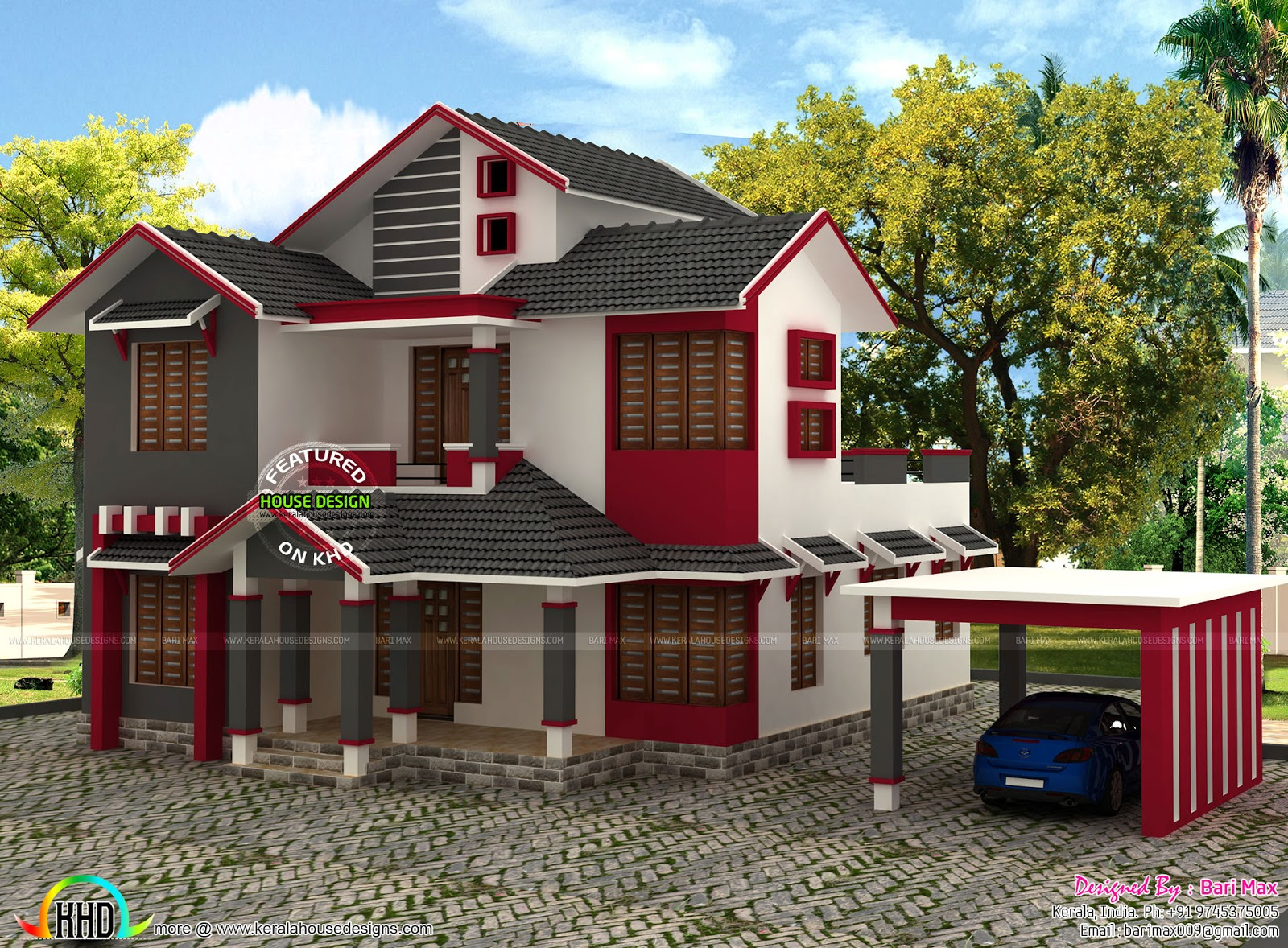 1860 Square Feet Sloped Roof House Kerala Home Design