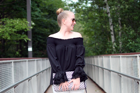 vava off the should top, revolve clothing, new england style blogger, massachusetts blogger, boston style blogger, on the style blog, black and white style, vince camuto woven leather clutch