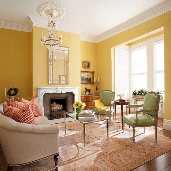 new home interior design yellow color schemes