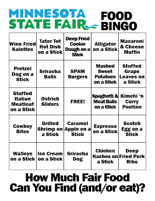 minnesota state fair food bingo card
