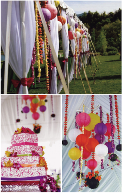 wedding tent, pink wedding, wedding streamers