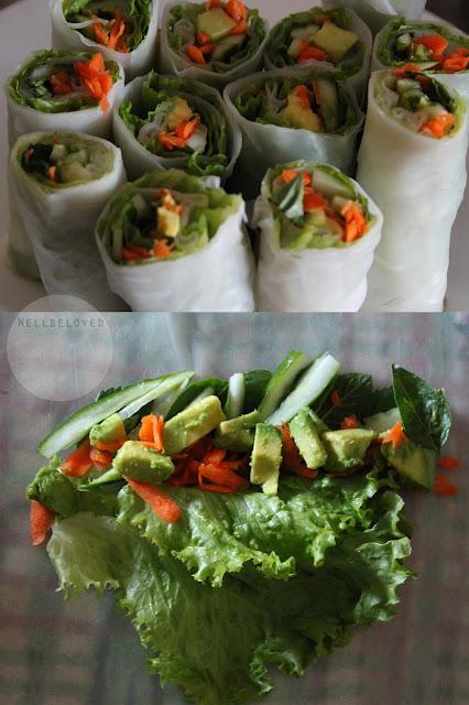cucumber avocado spring rolls