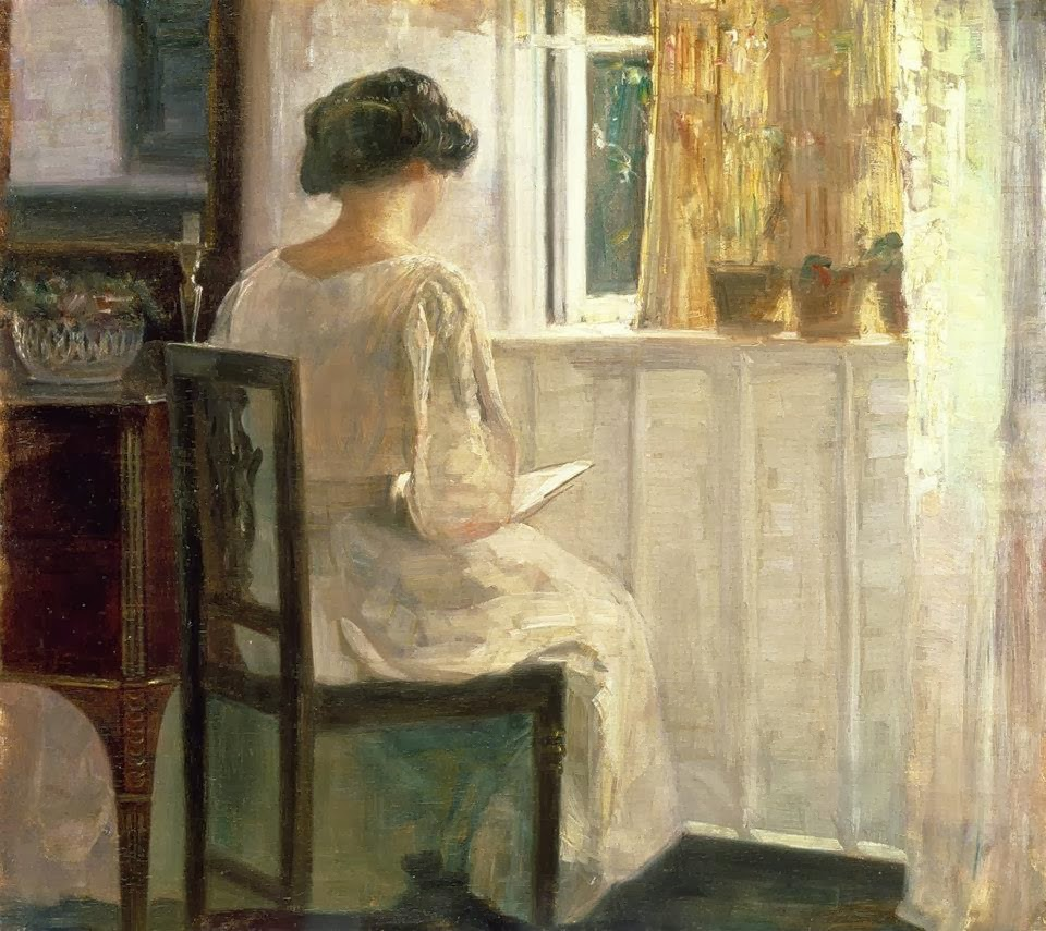 Carl Holsøe - Girl Reading in a Sunlit Room