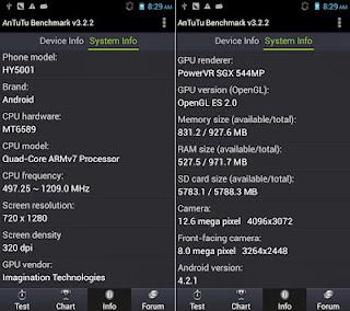 Aplicación Androide para ver las caracteristicas reales de un teléfono Chino con Android