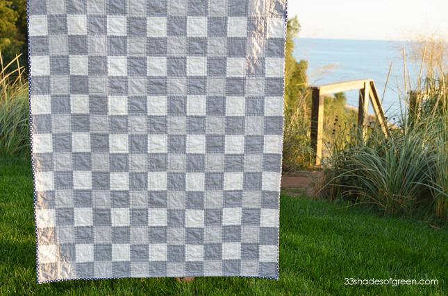 handmade white binding navy detail front back lane gingham tree beech blue quilt