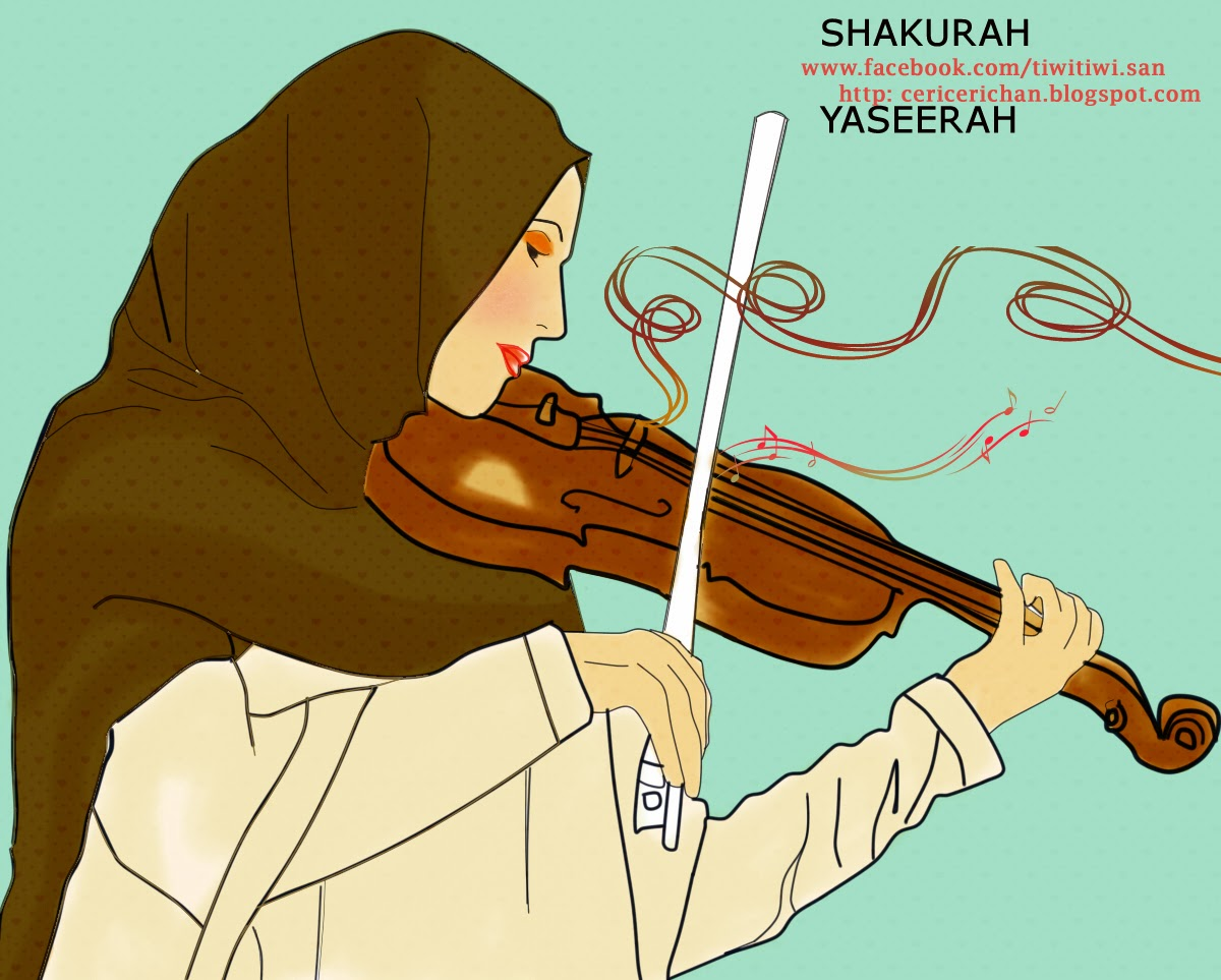 muslimah, play, music, violin,