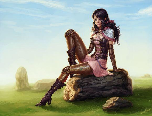 Katie de Souza ilustrações fantasia games mulheres Farah fazendo um breve descanso
