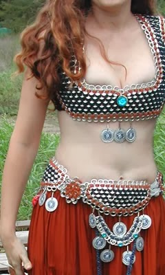 Belly dancer costume created with soda pop tab Art by Tabistry