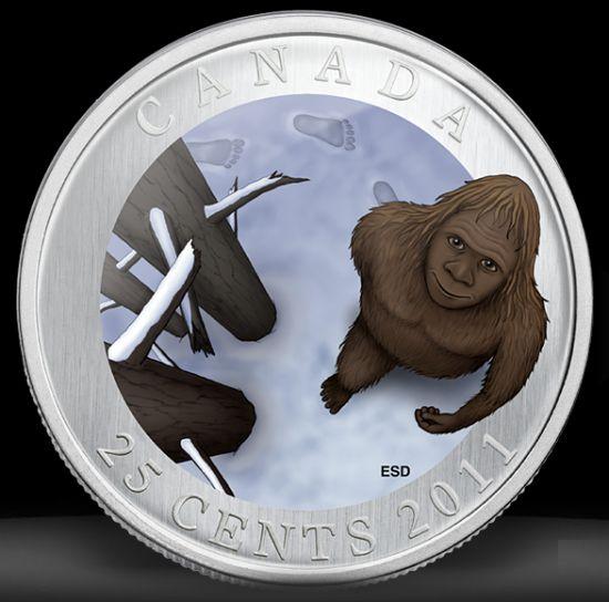 duit syiling Kanada dengan ilustrasi haiwan mitos