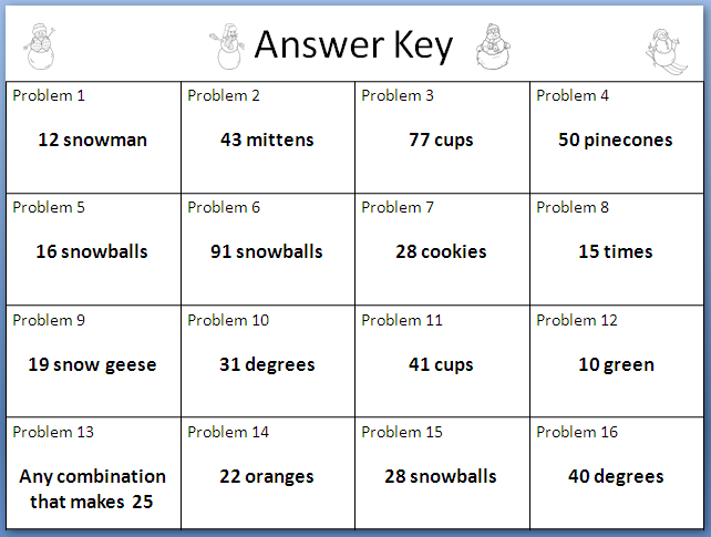 math worksheet : the elementary math maniac winter themed addition and subtraction  : Answer Key For Math Worksheets