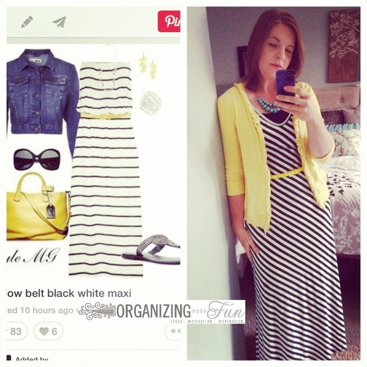 Find outfits from your own closet through Pinterest:: OrganizingMadeFun.com -- striped maxi dress, yellow belt, yellow cardigan