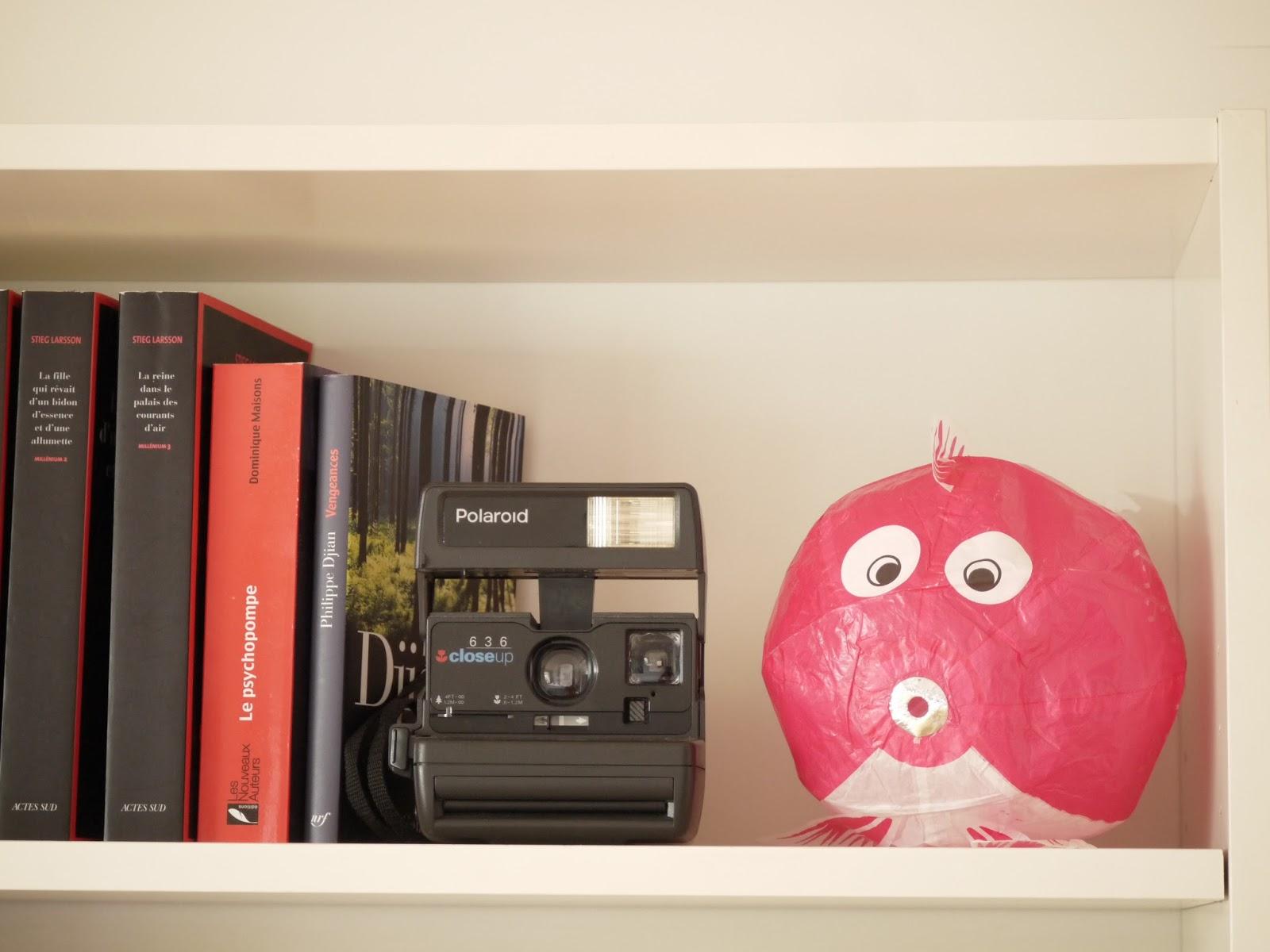 polaroid poisson japonais en papier rose