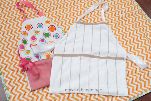 The 20 Minute Apron. Whip up these sweet aprons in less time than it takes a cake to bake! All it takes is a dishtowel, ribbon and a few fabric scraps
