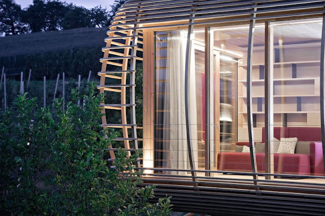 Brown Cage Made from Wooden Material and Transparent Glass Panel of Sliding Window