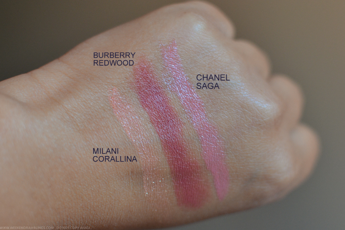 Milani Blush Corallina Burberry Lipstick Redwood Chanel Saga Swatches