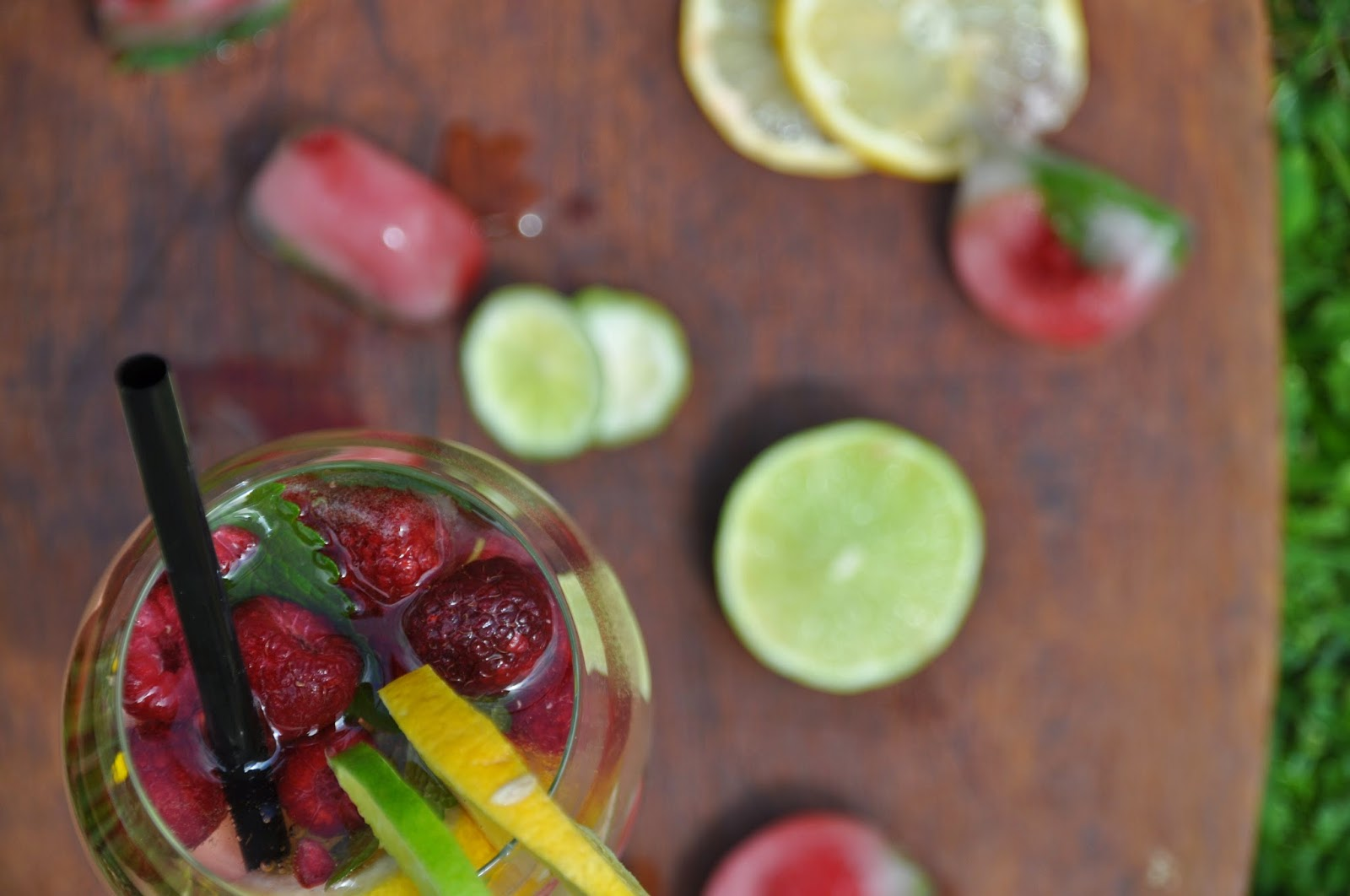 cocktail made of fresh fruits and elder syrup