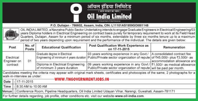 Walk in interview for electrical engineer post in Oil India Ltd