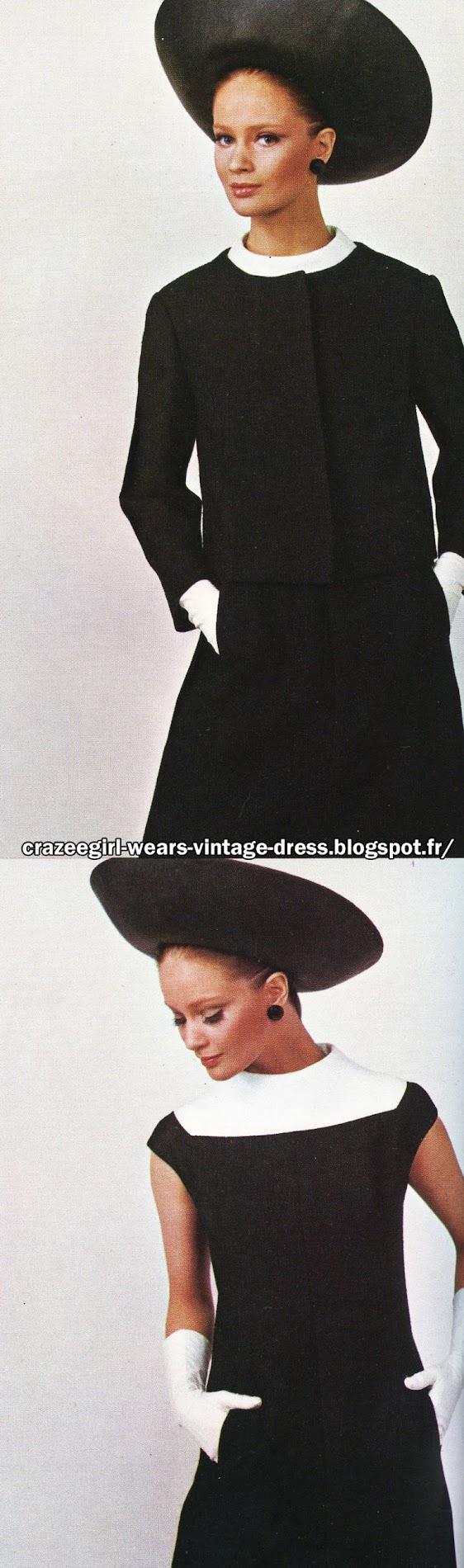 Belinda Bellville . 1967 black white jacket dress 1960 60s