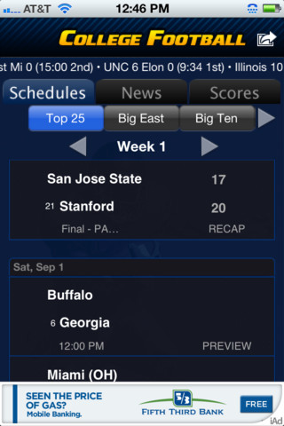 College Football Scoreboard Top Free IOS Apps for ...