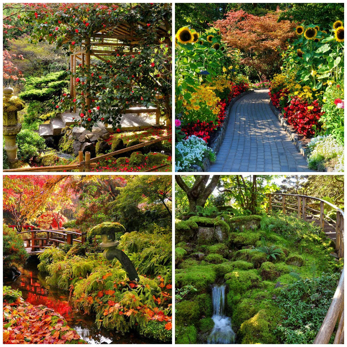 Butchart Gardens Spring, Summer, Fall, and Winter Collage