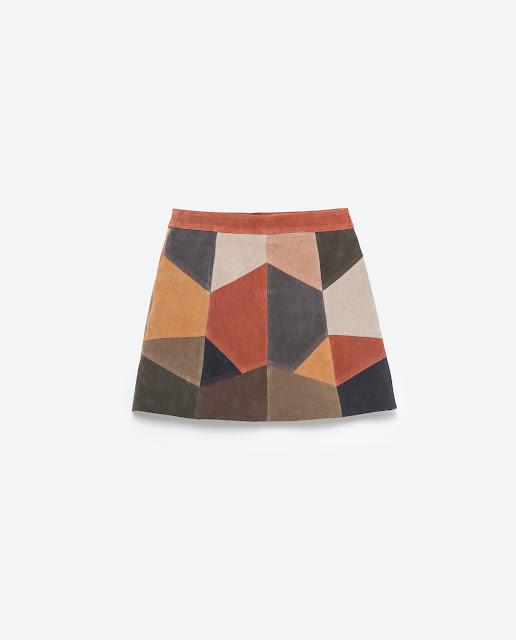 mini falda patcjwork piel zara
