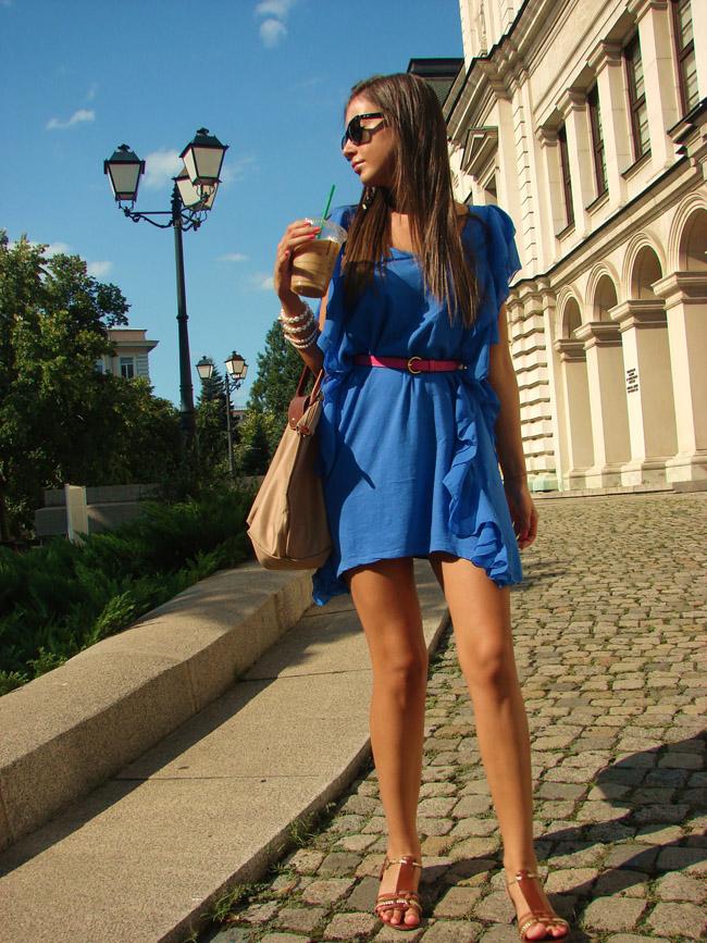 hm garden collection blue dress, ralph lauren brown gladiator sandals, hair braid, lauren conrad style braid blog, lauren conrad hairstyle, i heart maya, iheartmaya blog