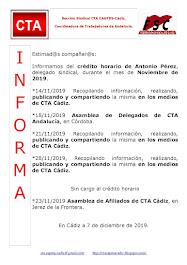 C.T.A. INFORMA CRÉDITO HORARIO ANTONIO PÉREZ, NOVIEMBRE 2019