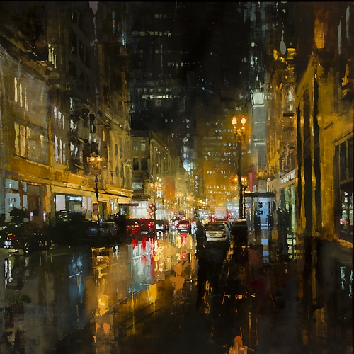 11-Post-St-Downpour-Jeremy-Mann-Figurative-Painting-in-Cityscapes-Oil-Paintings-www-designstack-co