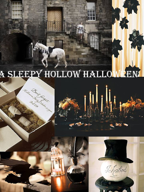 halloween inspiration board, black and white inspiration, sleepy hollow party