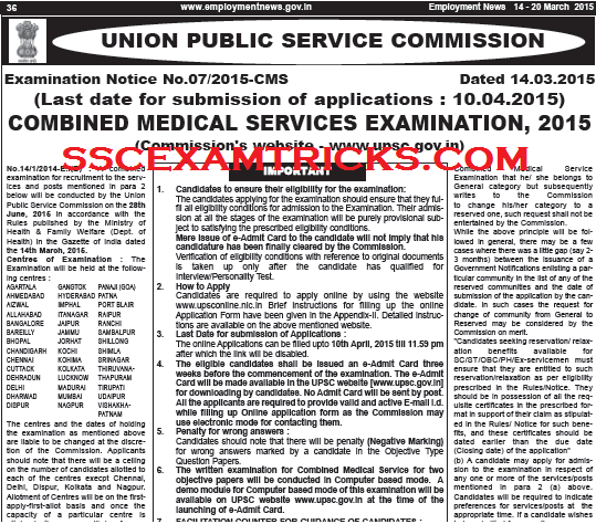 UPSC MO RECRUITMENT 2015
