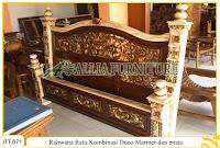 Tempat tidur ukiran kayu jati Rahwana Ratu duco marmer dan emas