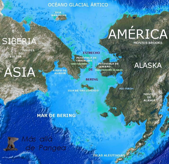 Mapa Estrecho Bering, Prehistoria, Pangea, Cabo Dezhnev, Cabo Principe de Gales, Seward, Chuckchee, Siberia, Alaska, San Lorenzo, Aleutianas, Yukon, Artico, Kolima, poblamiento america, glaciar, hielos, barca, Vitus Bering, Pangea