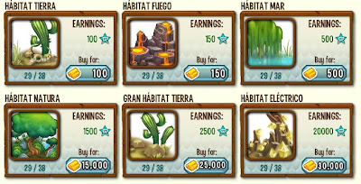 habitats basicos de dragon city