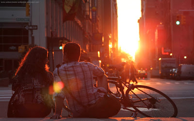 Romantic couple with sunset on city