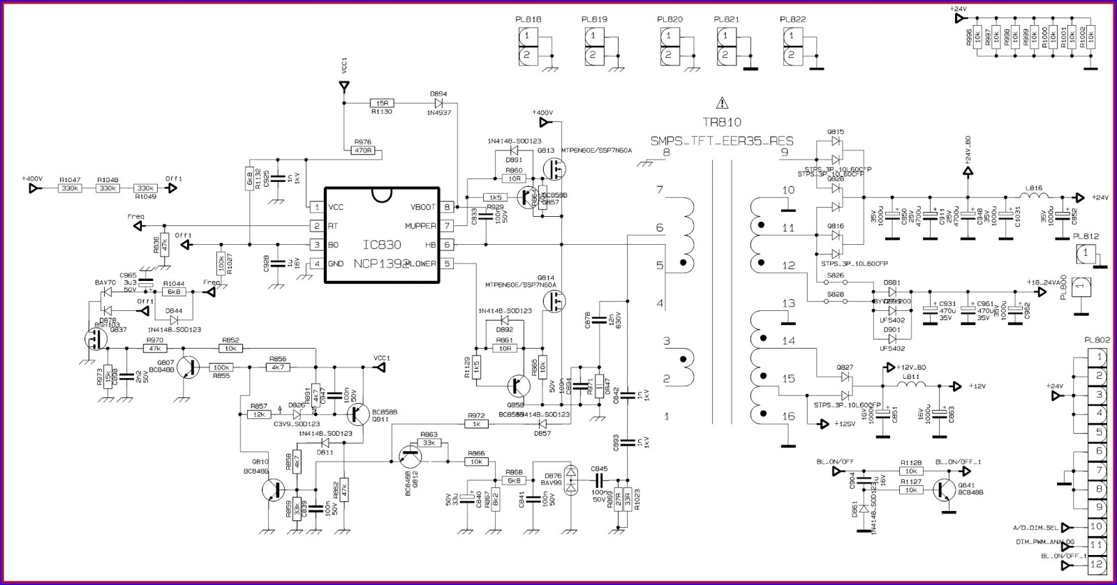 Sharp Lc-40sh340 Service Mode Troubleshooting Power Supply Circuit Diagram