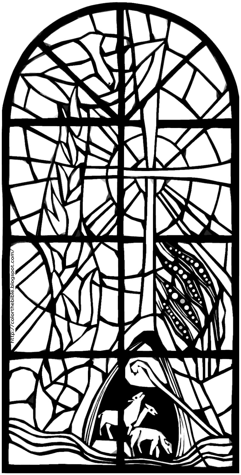 Day of pentecost color the bible for Stained glass window coloring pages