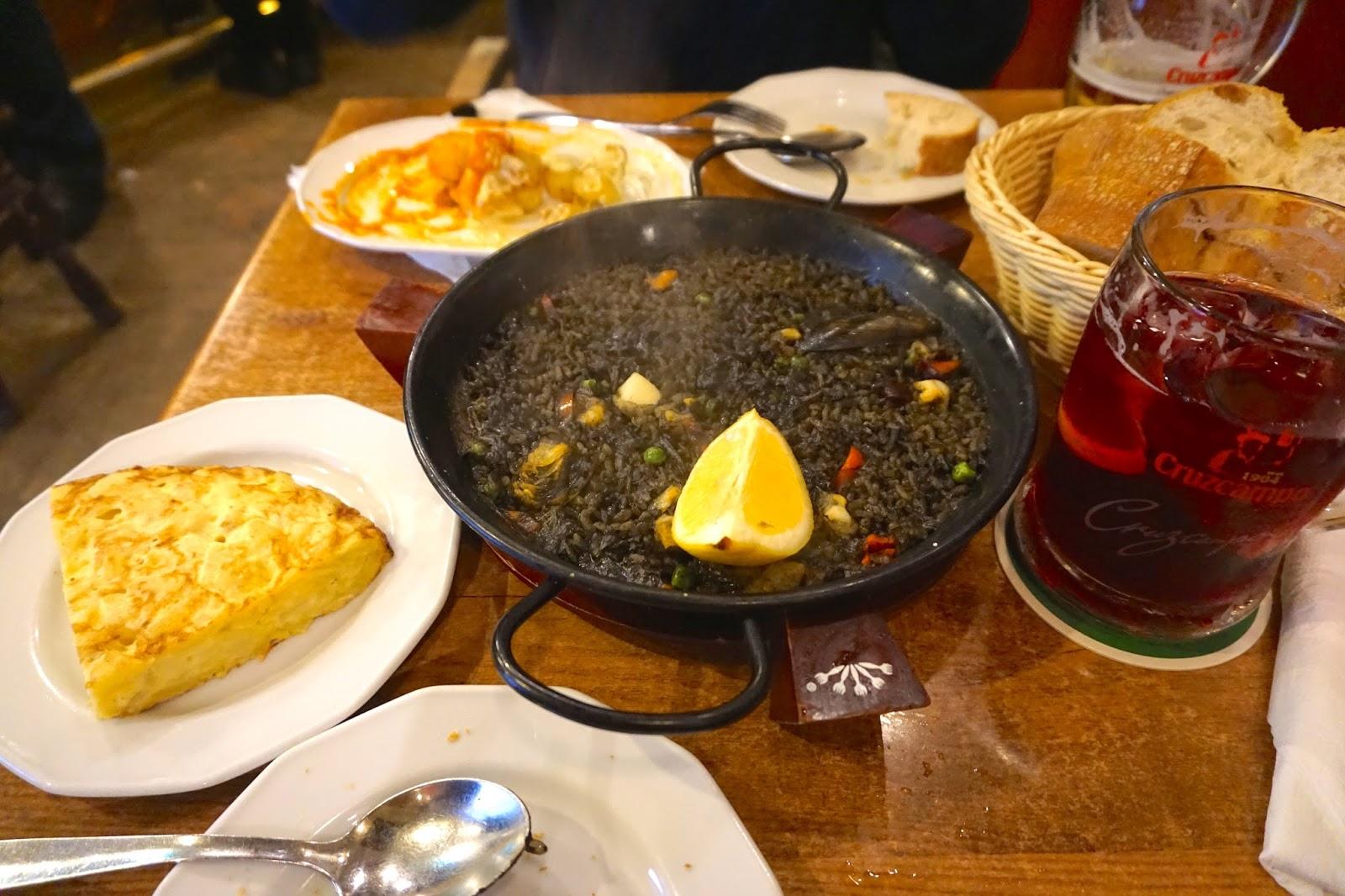 Black squid ink paella arros negre in Madrid
