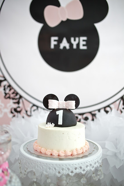 Simple Pink and White First Birthday Smash Cake