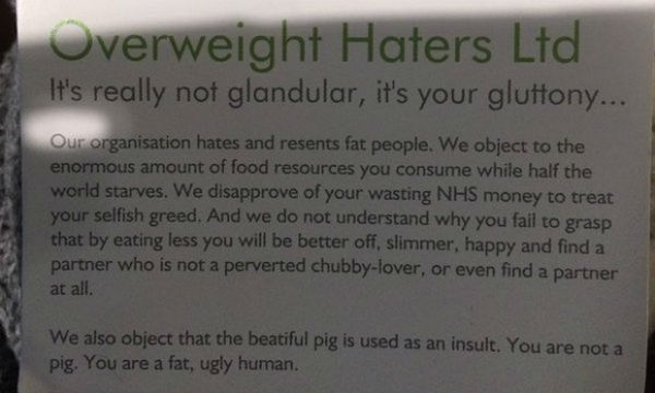 overweight haters, bopo, body positivity, underground fat-shaming, fat-shaming, fat shaming postcards, callie thorpe, from the corners of the curve