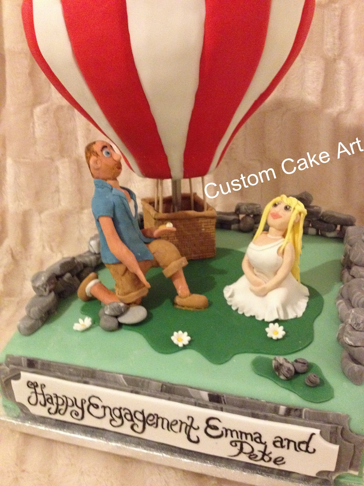 Custom Cake Art: USA Hotair Balloon Cake