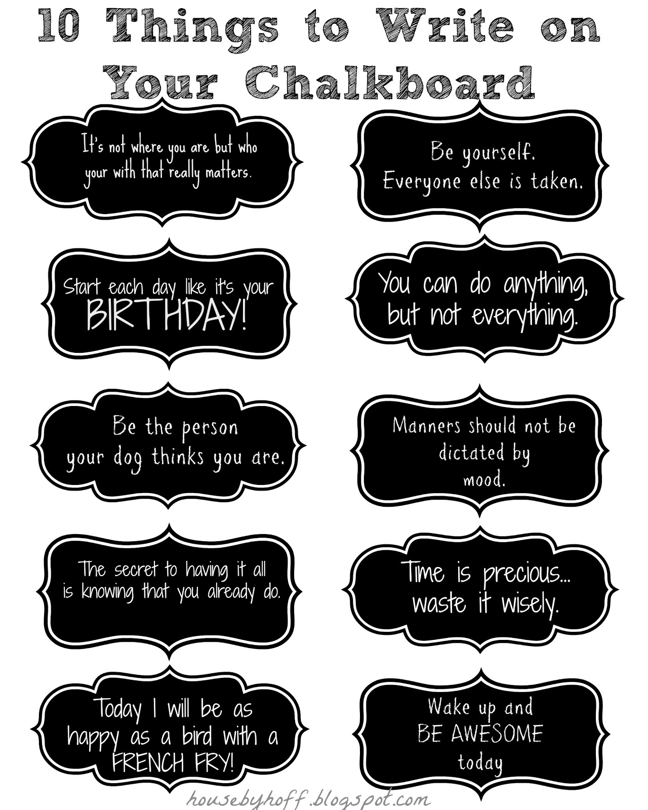 10 things to write on your chalkboard house by hoff - Things to put on a wall ...