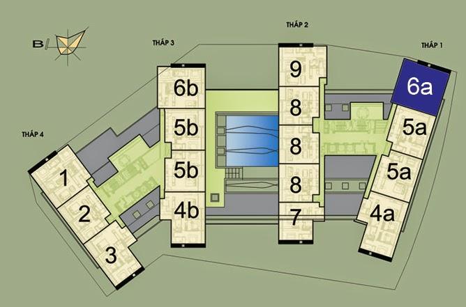 Vị trí căn hộ CH6A- 191m2 trên mặt bằng căn hộ Dolphin Plaza