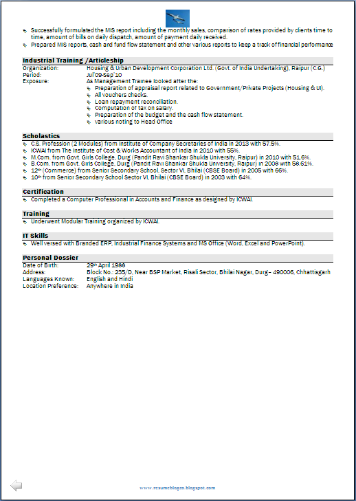 Resume Samples For Freshers M Com - frizzigame