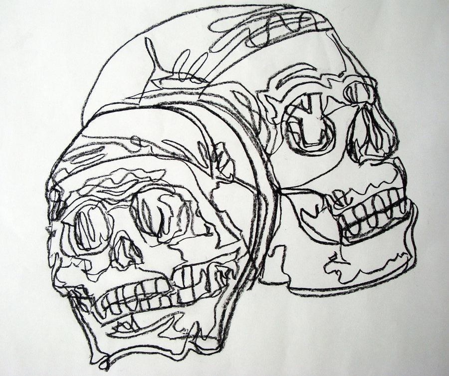 Contour Line Drawing Of A Cat : Basic drawing continuous contour skulls