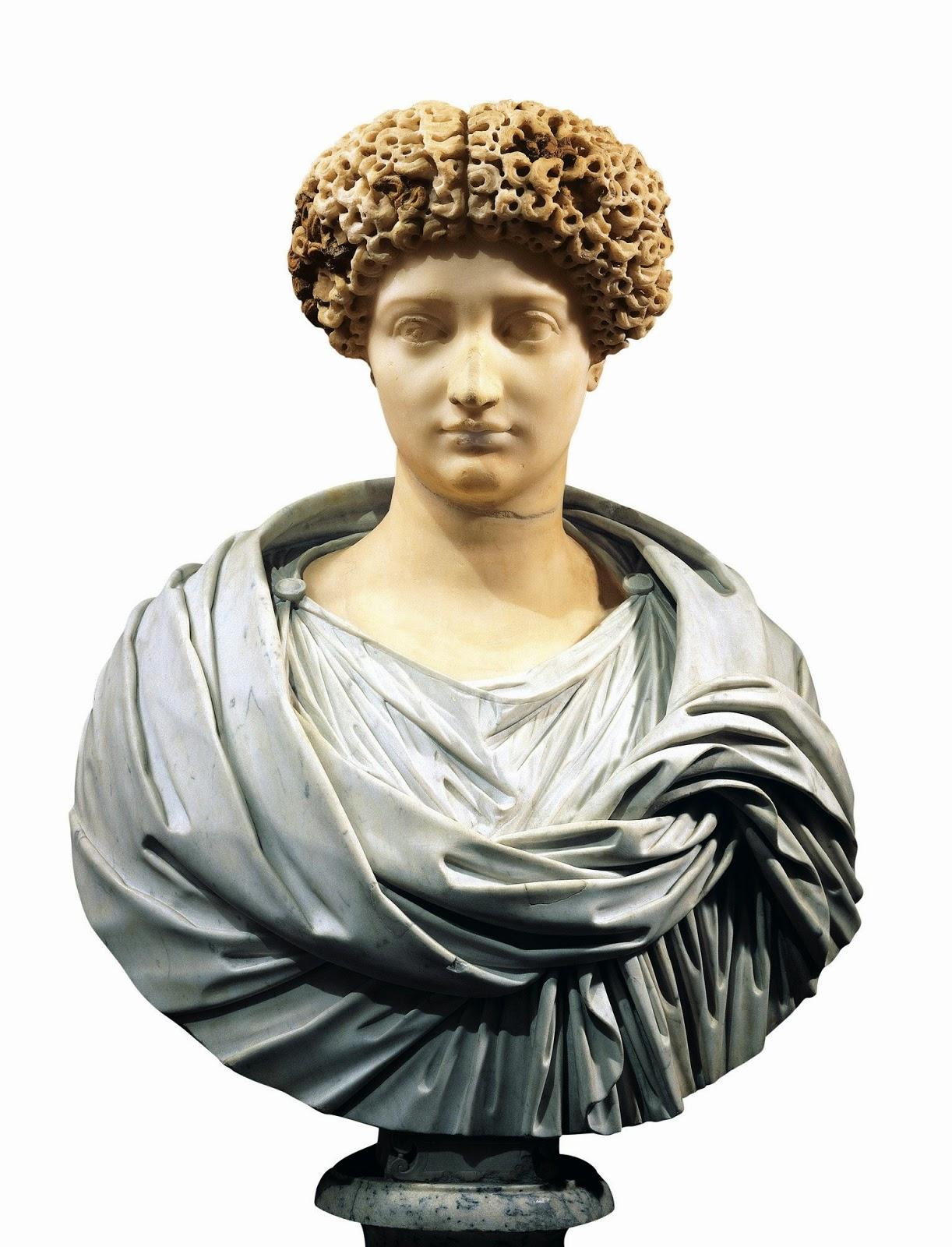 Julia, hija de Augusto.  Busto de mármol. siglo I a.C. Museo Nacional Romano, Palacio Altemps, Roma.